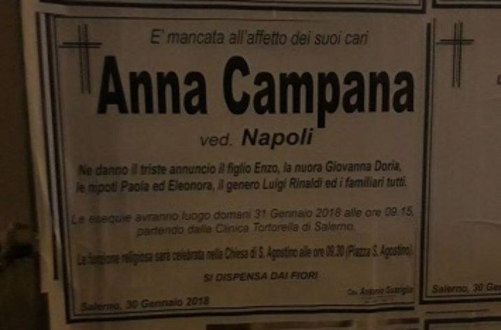 Lutto al Comune di Salerno: oggi i funerali della mamma del sindaco Vincenzo Napoli
