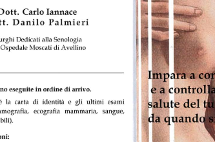 Salerno: lunedi 9 Aprile controlli senologici gratuiti al Centro Sociale