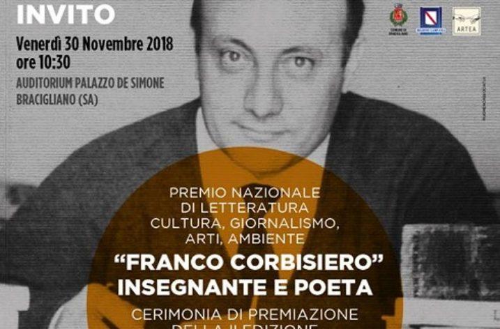 """Bracigliano: domani la Cerimonia di premiazione del Premio Letterario """"Franco Corbisiero"""""""