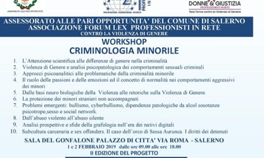A Salerno il workshop sulla Criminologia Minorile